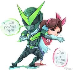 """Genji comes to the aid of a mechless D.va. D.va players know the horror of a person coming at you and you gotta 1v1 them. """"Protect me Sentai!"""" Dedicated to my husband, who plays Genji a lot a..."""
