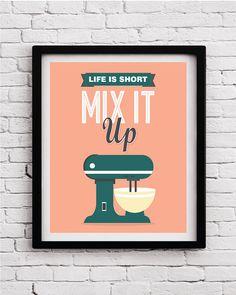 Mix it up, Kitchen decor,kitchen print,kitchen wall art,kitchen print set, kitchen decoration,kitchen poster,funny kitchen print, fun poster by BlackPelican