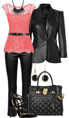 """Leather and Lace"" by lisa-holt on Polyvore"