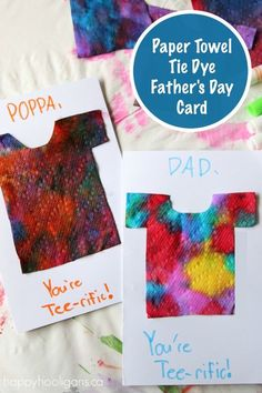 Looking for a unique and adorable homemade Father's Day card for the kids to make this year? These tie-dyed paper towel tee-shirt cards are the coolest!