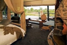 Singita Boulders Lodge is built among the rocks of the Sabi Sand Game Reserve. Excellent game-viewing opportunities combine and the best bush cellar in Africa! Luxury Tents, Luxury Camping, My Living Room, Living Spaces, Sand Game, African Interior, Home Upgrades, Game Reserve, Fashion Room