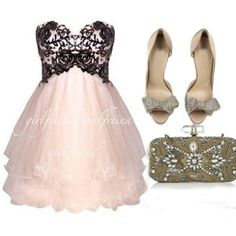 Cute lace strapless prom dress / bridesmaid dresses -- vegas wedding