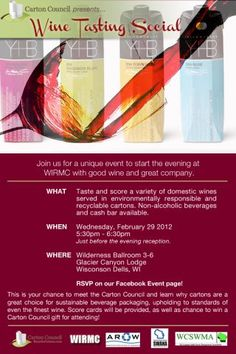 Unique event, plus domestic wines served in environmentally responsible and recyclable cartons. Perfect!