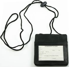 """Leather Neck ID Holder - Horizontal - This ID Holder is made specifically for horizontal IDs. The front has a clear window ID pocket so your ID stays protected and is visible. ID slides in and out for easy access. The back exterior has a pocket with a snap tab closure. The attached adjustable neck lanyard for goes around your neck and is able to hang down up to 18"""". Light and very durable making an excellent ID holder."""