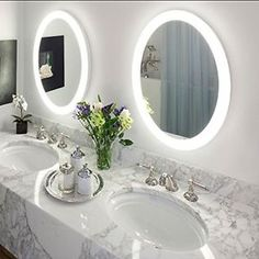 "Luxury Bathroom Vanity Wall Mount Round LED Lighted 22"" Mirror with Defogger NEW"