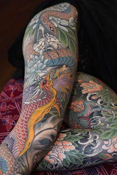 Johan Svahn Spirit Of The Modern Japanese Tattoo Divine - Johan Svahns Work Embodies The Spirit Of The Modern Japanese Tattoo Divine Like Gossamer But Still Daring Still Intrepid The Composition Of Every Tattoo Of His Is Not Accidental These Are Dope Tattoos, Leg Tattoos, Body Art Tattoos, Girl Tattoos, Tattoos For Women, Tatoos, Tattoo Art, Japanese Tattoo Symbols, Japanese Tattoo Designs