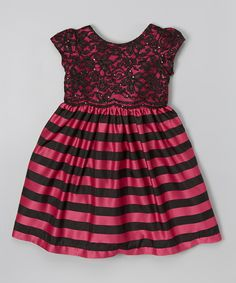 Look at this #zulilyfind! Jayne Copeland Fuchsia & Black Stripe Lace Cap-Sleeve Dress - Toddler & Girls by Jayne Copeland #zulilyfinds
