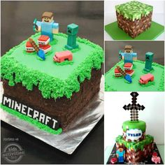 My kids are in the midst of a Minecraft craze (Minecraft is a game on the computer), so I created this cake for a Cub Scout fundraiser. The cake is a square cake (vanilla and choco… Minecraft Party, Pastel Minecraft, Minecraft Cookies, Minecraft Birthday Cake, Minecraft Cake, Cool Birthday Cakes, Birthday Cake Girls, Birthday Stuff, 4th Birthday