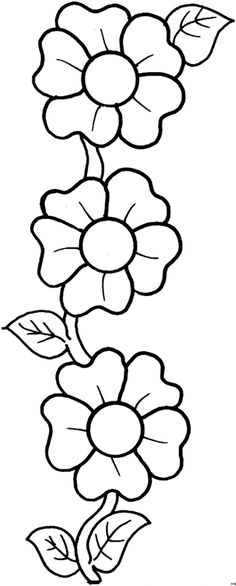 Flores para bordar e pintar – Riscos - Porter Tutorial and Ideas Embroidery Flowers Pattern, Applique Patterns, Flower Patterns, Quilt Patterns, Doodle Patterns, Hand Quilting Designs, Hand Embroidery Designs, Kindergarten Coloring Pages, Dragonfly Art