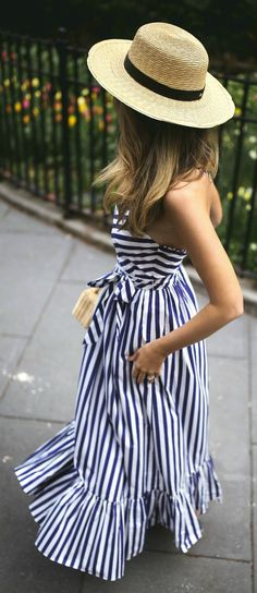 Vintage Makeup Look Nyc Fashion, Fashion Outfits, Style Fashion, Travel Outfits, Outfits With Hats, Other Outfits, Vintage Makeup Looks, Classic Work Outfits, Striped Maxi Dresses