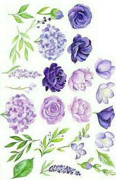 Best Snap Shots Purple Flowers painting Ideas Purple flowers are generally regal flowers. There're deluxe and extravagant, trendy as well as boheme. Plant Drawing, Painting & Drawing, Painting Tips, Watercolor Flowers, Watercolor Paintings, Watercolour, Aquarell Tattoo, Journal Stickers, Botanical Art