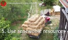 Permaculture principle 5. Use and Value Renewable Resources and Services   These strawbales, a waste product for our neighbours, are used as insulaltion of our walls.