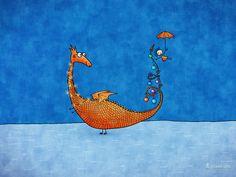 Alice, Her Dragon and The Christmas Tree · Desktop wallpapers · Vladstudio