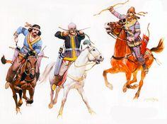 Parthian horse-archer (2nd century BC), Parthian horse-archer (3rd century AD), Early Parthian horse-archer (4th century BC) [Angus McBride] La Pintura y la Guerra. Sursumkorda in memoriam