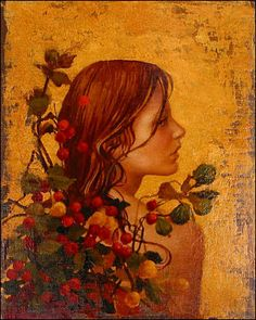 Portrait With Red Berries by James C. Christensen, 2003