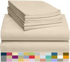 """Amazon.com: LuxClub 6 PC Sheet Set Bamboo Sheets Deep Pockets 18"""" Eco Friendly Wrinkle Free Sheets Hypoallergenic Anti-Bacteria Machine Washable Hotel Bedding Silky Soft - Cream Queen: Home & Kitchen"""