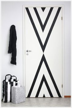 Electrical tape to give plain doors a fresh look