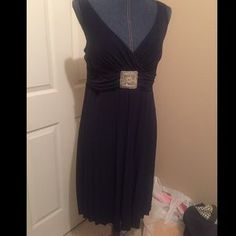 I just discovered this while shopping on Poshmark: Dress, dark navy blue, mid length. Check it out! Price: $15 Size: 14