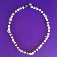 Freshwater Pearl Necklace with Gemstone Chip by AnnPedenJewelry, $19.99