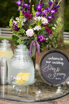Welcome Table #cedarwoodweddings Hanging Flower Garlands by Cedarwood Weddings   Cedarwood Weddings