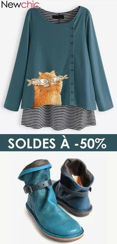 * 60 Off * Cartoon Cat Stripe O-neck Long Sleeve Button Blouse Paris Mode, Design Trends, Corset, Sweatshirts, Womens Fashion, Long Sleeve, Sleeves, How To Wear, Clothes