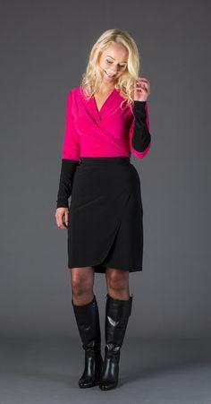 Wikkeljurkje pink/zwart in soepele stretch stof