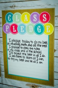 Class Pledge in an adorable Shabby Chic-themed classroom.