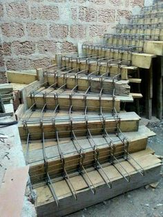 Discover thousands of images about Slabless stair reinforcing work process continue .till cover and concerte House Front Design, Modern House Design, Stairs Architecture, Architecture Details, Architecture Student, Concrete Staircase, Building Foundation, Home Stairs Design, Building Stairs