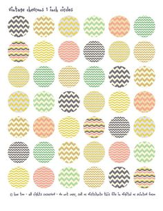 1 inch circles and squares, chevron patterns collage sheet, chevrons bottlecap images, zig zags for personal use and small commercial - 607