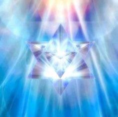 """""""On the microcosm level, each prepared human will have two triangles which form a double helix that will spin to form the personal stargate for each individual's consciousness to be able to travel through. This dual- triangle geometric energy pattern is centered on the body within the heart space and is connected out of the crown chakra to a person's oversoul. Thus the human body is termed the merkabah vehicle for ascension."""" 