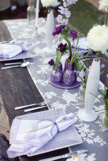 silvery lilac table runners