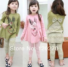 Free Shipping Spring Baby Girls Rabbit Bow Lace T-shirt Dress Leggings Pants 2 Piece Set Infant Toddler Children's Clothes Suits US $74.00