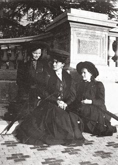 Empress Alexandra Romanov with her eldest daughters, Olga and Tatiana, evaluating the grounds at Massandra Palace in the Crimea.