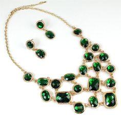 Emerald Green Gold Crystal Necklace Bib Statement Dangle Earrings Jewelry Set #Unbranded #StatementBibChunky