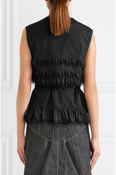 Alaïa - Laser-cut Ruffled Cotton-poplin Top - Black - FR40