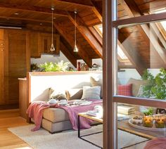 A small mansard house in the Pyrenees Tiny House Living, Cozy Living, Home Living Room, A Frame Cabin, A Frame House, Dream Home Design, Home Interior Design, Small Apartments, Small Spaces