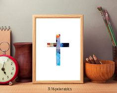 Cross Mixed Colors 8x10 Bible Art Scripture by 316printables