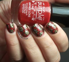 The Clockwise Nail Polish: Purple Professional 90 Burning Passion & MoYou Christmas 01 plate