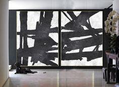 Set Of 2 Extra Large Acrylic Painting On Canvas by CelineZiangArt