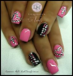Pink & Black Nails with Bling Bling...