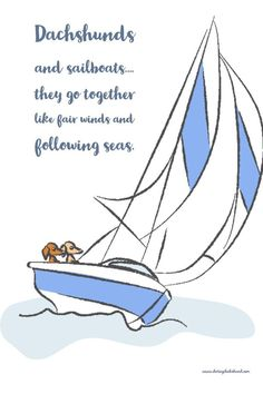 Dachshunds and sail boats, they go together like fair winds and following seas. Through in some good human company and it's the perfect day!