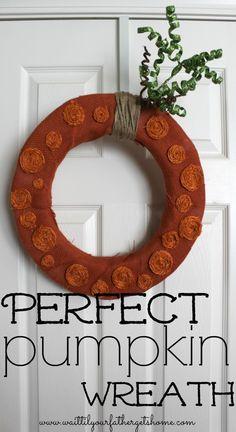 The Perfect Pumpkin Wreath via www.waittilyourfathergetshome.com #pumpkin #wreath #fall