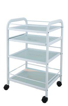 This a 4 shelf European trolley with tempered glass shelves, has  a push handle on the top to facilitate movement around the treatment room,  the second shelf has the ability to extend outward for treatment performance.  $142.00 www.salonandspadepot.com