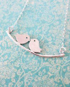 Silver Love Birds necklace Bird On Branch