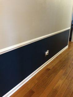 Navy blue and gray hallway