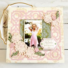 Anna Griffin Garden Mums Scrapbook Layout. Click here to make it now with the Cricut Explore: https://us.cricut.com/design/#/landing/project-detail/8188