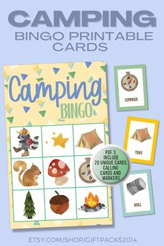 Get a printable set of Camping Bingo Cards. Perfect for kids to play on a camping trip - just laminate the cards and use marshmallows! Our instant download printable Camping Party Game contain 20 unique cards, calling and markers. Printable Bingo Games, Bingo Set, Printables, Camping Bingo, Camping Party Games, Educational Activities For Kids, Printable Activities For Kids, Birthday Party Games, Calling Cards