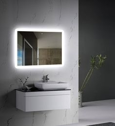Wall-mounted LED Backlit Mirror with frosted glass edges front view Contemporary Bathrooms, Modern Bathroom, Small Bathroom, Bathroom Ideas, Black Bathrooms, Bathroom Closet, Bathroom Mirrors, Bathroom Colors, Washroom