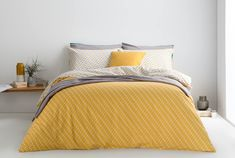 Prism 100% Cotton Printed Double Bed Set, Mustard/ Grey from Made.com. Grey/Teal. Express delivery. Geometric Print..