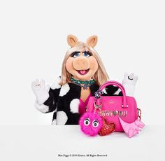 miss piggy's holiday style signatures? polka dots, pink and piles of jewelry.